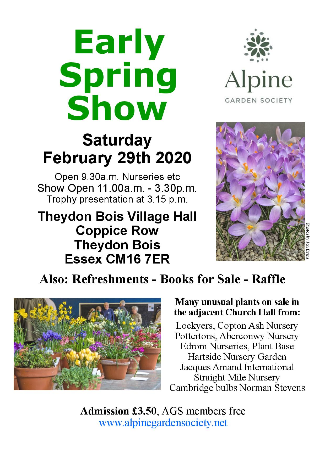 Alpine Society Early Spring show 29th Feb at Theydon Village Hall